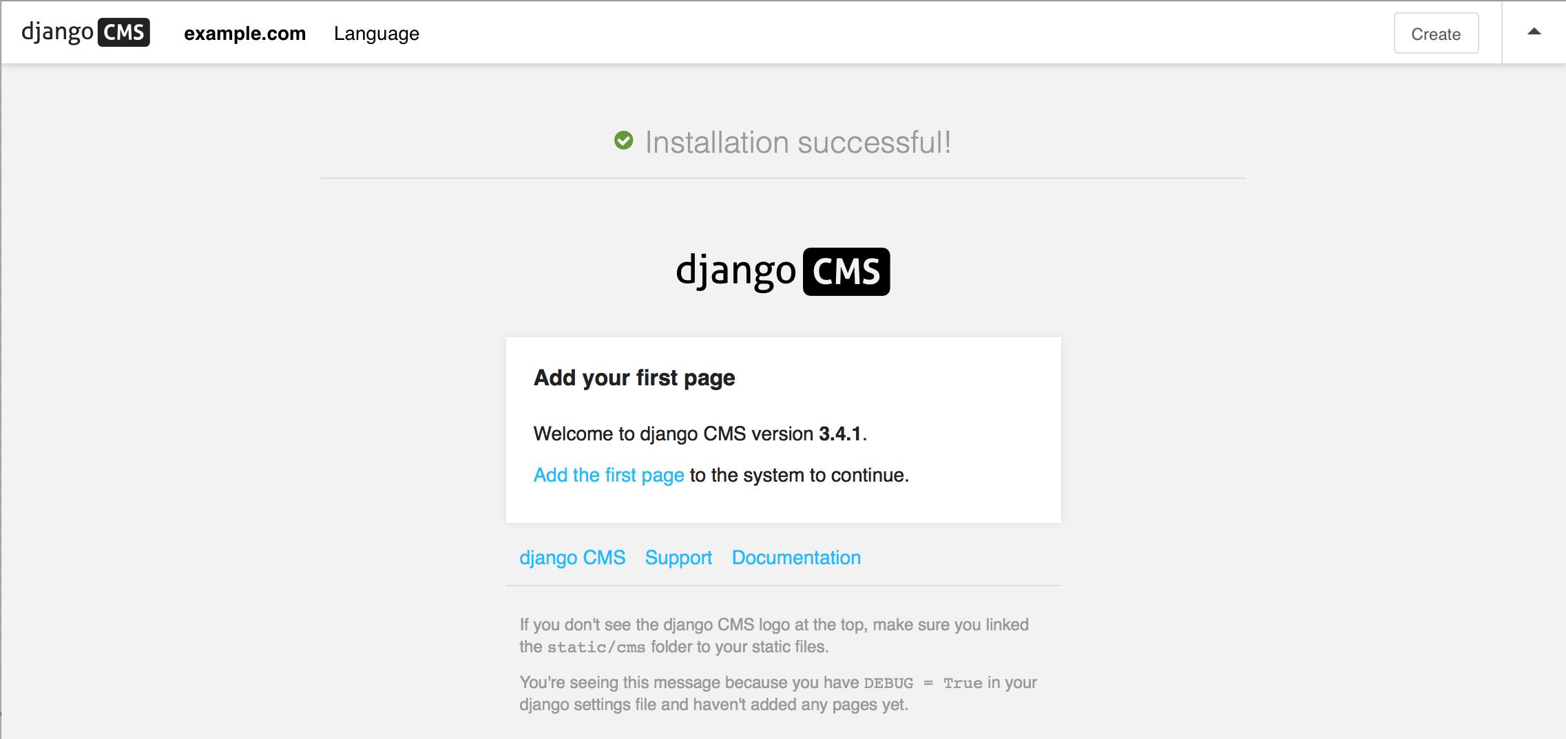 Installing django CMS by hand — django cms 3.4.2 documentation